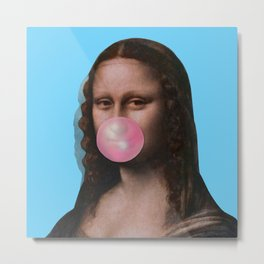 Mona Lisa (Leonardo da Vinci) with Bubblegum Metal Print