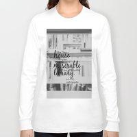 jane austen Long Sleeve T-shirts featuring Jane Austen Library by KimberosePhotography