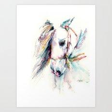 Fantasy white horse Art Print