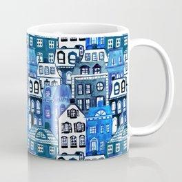 Mansard Village in Blue Watercolor Coffee Mug