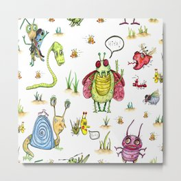 whimsical bug watercolor Metal Print