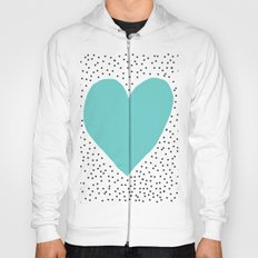 Turquoise heart with grey dots around Hoody