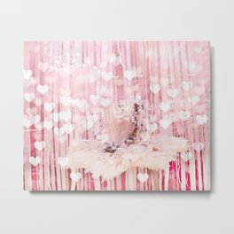 Paris Pink Ballerina Tutu With Hearts Metal Print