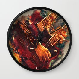 Jimmy Page's doubleneck electric guitar Wall Clock