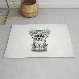 Cute Snow Leopard Cub Wearing Glasses Rug