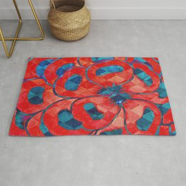 Red and Blue Flower Pattern Rug