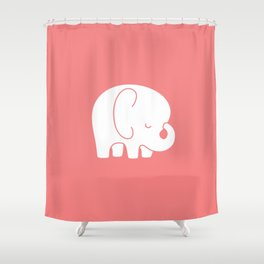 Mod Baby Elephant Coral Shower Curtain