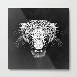 Illustration with a head of a leopard in white on a dark background Metal Print