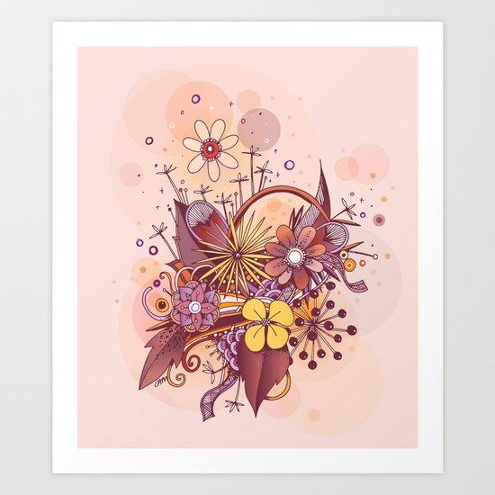 Zentangle, summer rose pink, purple doodle Art Print