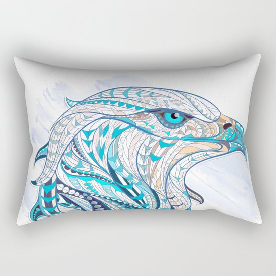 Blue Ethnic Eagle Rectangular Pillow