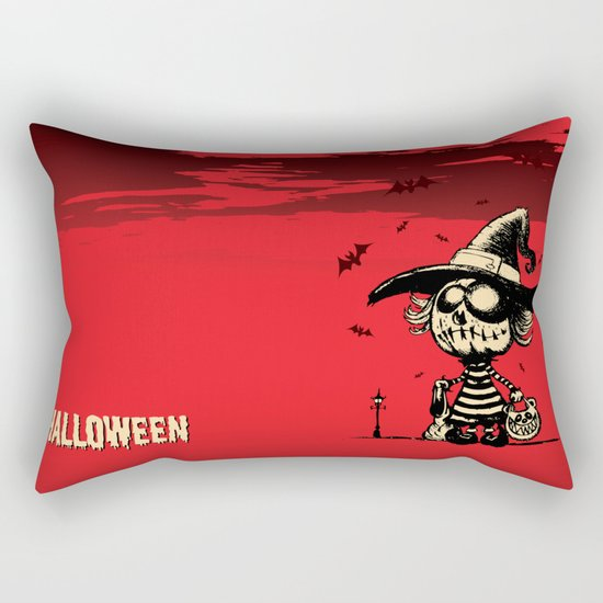Halloween pumpkin girl Rectangular Pillow