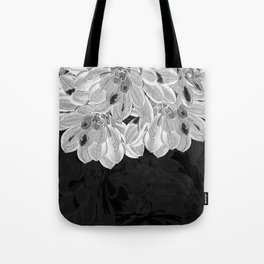 Elegant Black and White Flowers Design Tote Bag