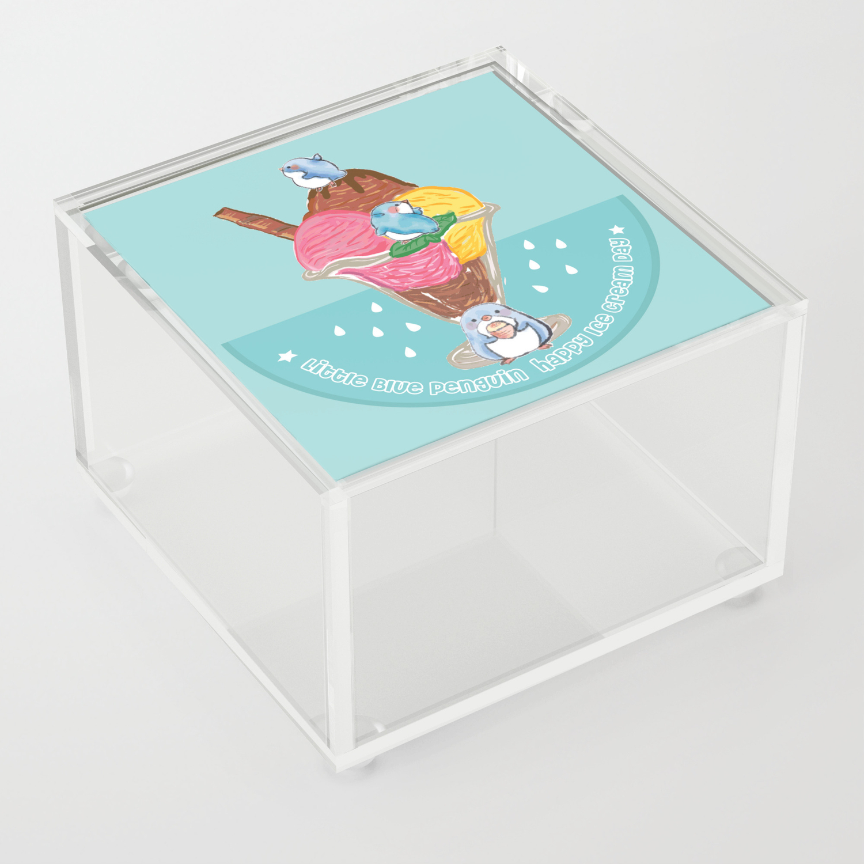 little blue penguin happy ice cream day Acrylic Box by caracheng