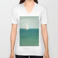 sail V-neck T-shirts featuring Minty Sail by Pure Nature Photos