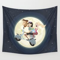 vespa Wall Tapestries featuring Vespa Moon by soy8bit