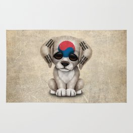 Cute Puppy Dog with flag of South Korea Rug