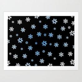 Snowflakes (Blue & White on Black) Art Print