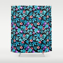 Midnight Sweetness. Dark Botanical Figs and Leaves Shower Curtain