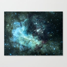 Teal Green Galaxy : Celestial Fireworks Canvas Print