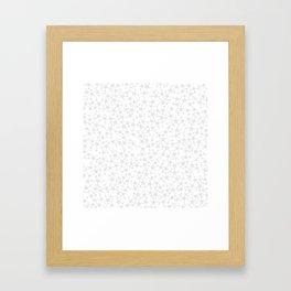 Block Print Silver-Gray and White Stars Pattern Framed Art Print