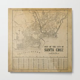 Santa Cruz Vintage Map Metal Print
