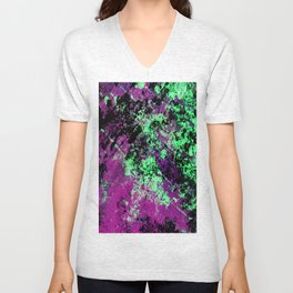 Colour Interaction II - Abstract purple, green and black textured, mixed media art Unisex V-Neck