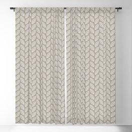Minimalist Leaves in Gray Blackout Curtain