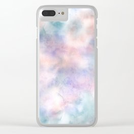 Watercolor Dreams, Abstract Teal, Purple, Blue, Peach Clear iPhone Case