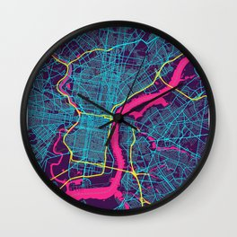 Philadelphia Neon City Map, Philadelphia Minimalist City Map Wall Clock