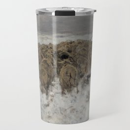 Flock of sheep with shepherd in the snow by Anton Mauve Travel Mug