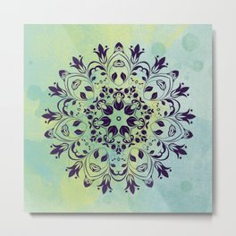 FLOURISH PURPLE AND BLUE WATERCOLOR MANDALA  Metal Print