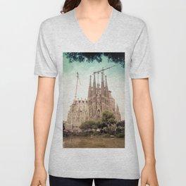 Sagrada Familia in Barcelona Unisex V-Neck