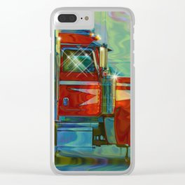 The Trucker - Red Lorry Artwork Clear iPhone Case