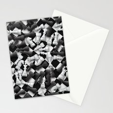 Heap of chess pieces on chessboard Stationery Cards