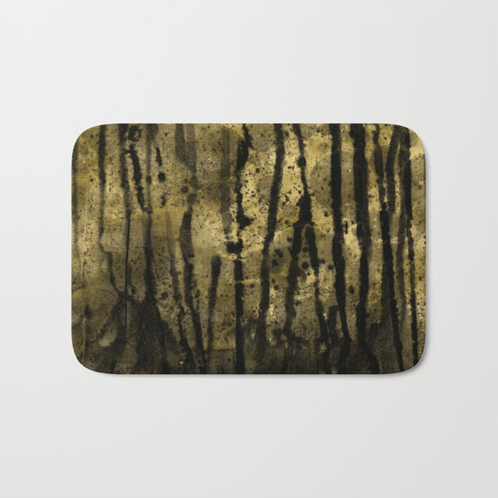 Black and Gold grunge modern abstract ink background Bath Mat