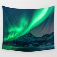 northern lights Wall Tapestries featuring Aurora Borealis (Northern Lights) by StayWild