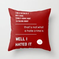 michael scott Throw Pillows featuring Michael Scott on Hate Crimes (The Office) by thebuccanear