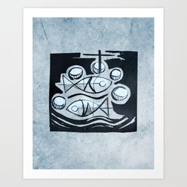 Five breads and two fish Art Print