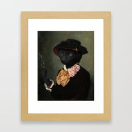 Black Cat with a mirror Framed Art Print