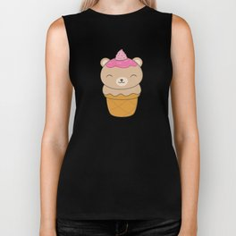 Kawaii Bear Ice Cream Cone Biker Tank