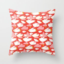 Birs and clouds Throw Pillow