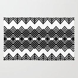 Geometric Black & White Zigzag Design Rug