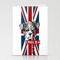 english bulldog Stationery Cards featuring English Bulldog by Det Tidkun