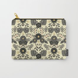 Gray, Black, Cream, Yellow & Red Sophisticated Floral Pattern Carry-All Pouch
