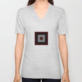 Ruby Red Marble w/ Blk & White Geometrica Pattern Insert Unisex V-Neck