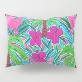 Beach Party with Palms and Flamingos Pillow Sham