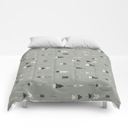 Forest Ready trees & arrows pattern (gray) Comforters