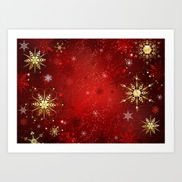 Red Background with Gold Snowflakes Art Print
