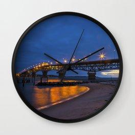 Coleman Bridge At Sunrise Wall Clock