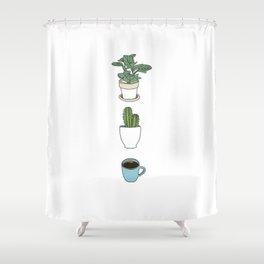 Plants Cactus & Coffee Shower Curtain